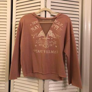 Vintage Havana Crop sweatshirt with mesh detail